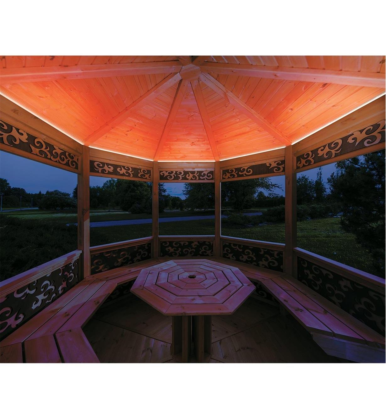 Example of color-controlled (RGB) LED lights installed in a gazebo