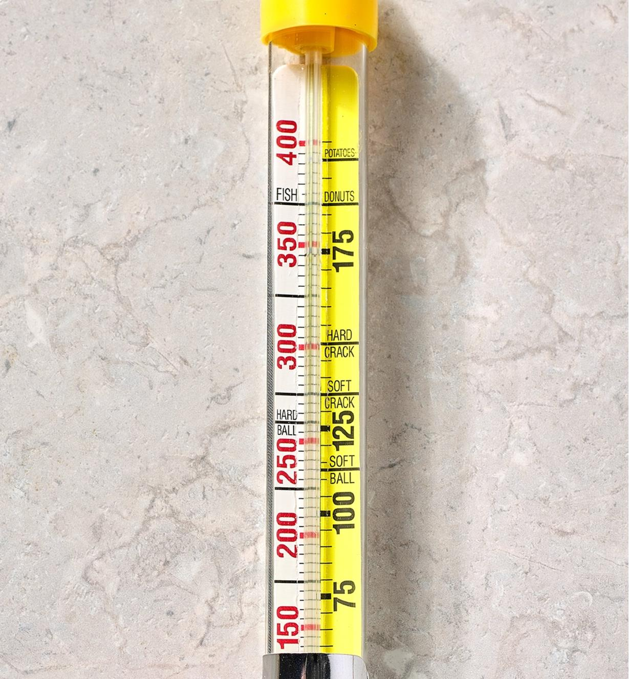 A close-up view of the temperature scales on the candy and deep-fry thermometer