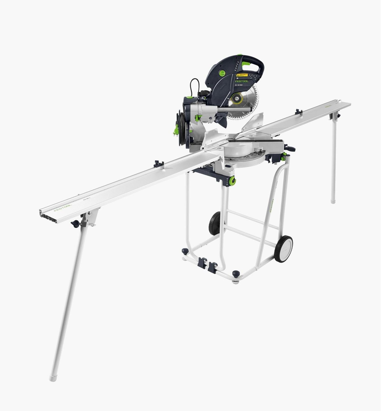A Kapex miter saw sitting on the mobile cutting station