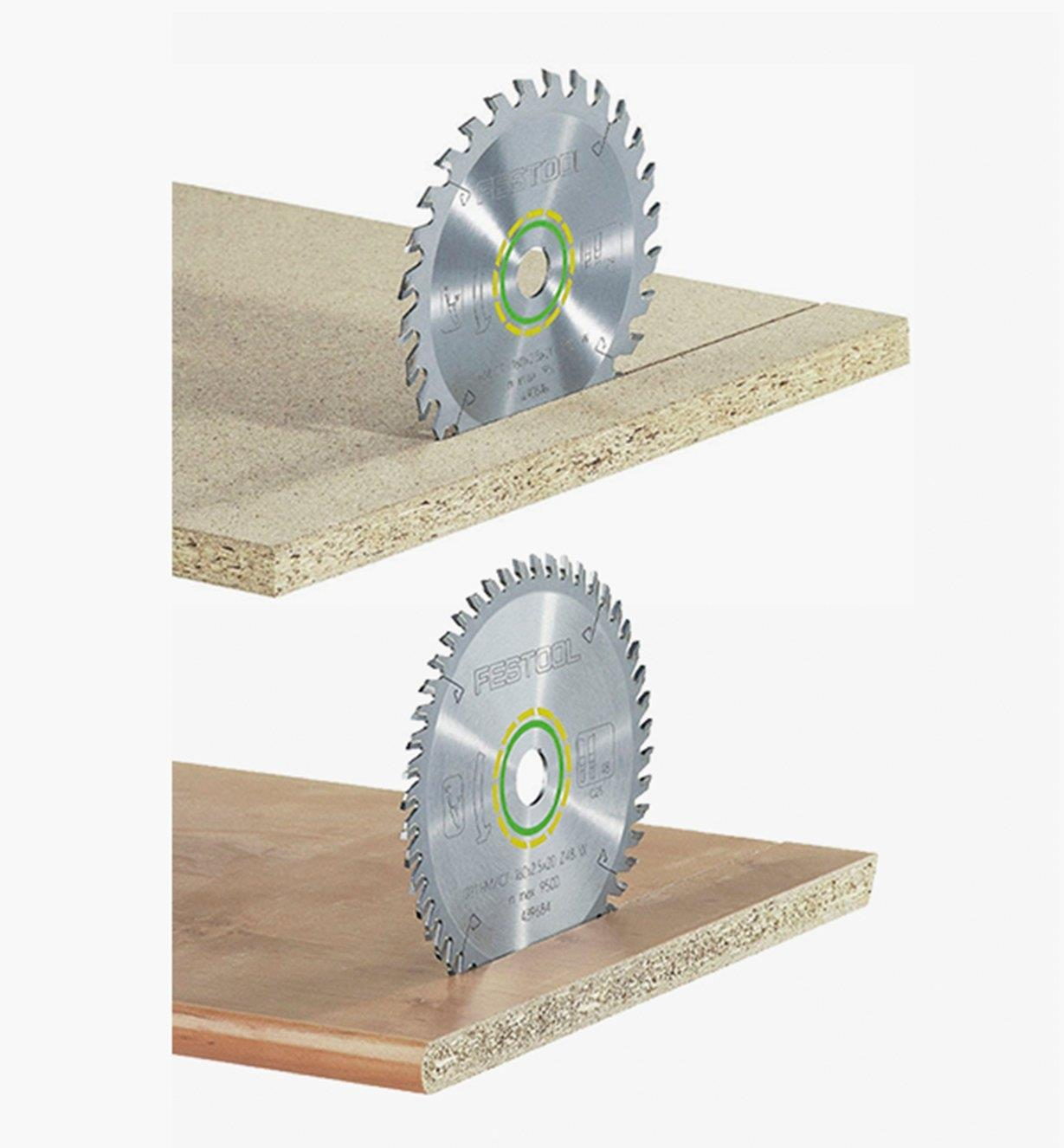 Universal blade upright on particleboard and a fine-tooth blade upright on a veneered panel