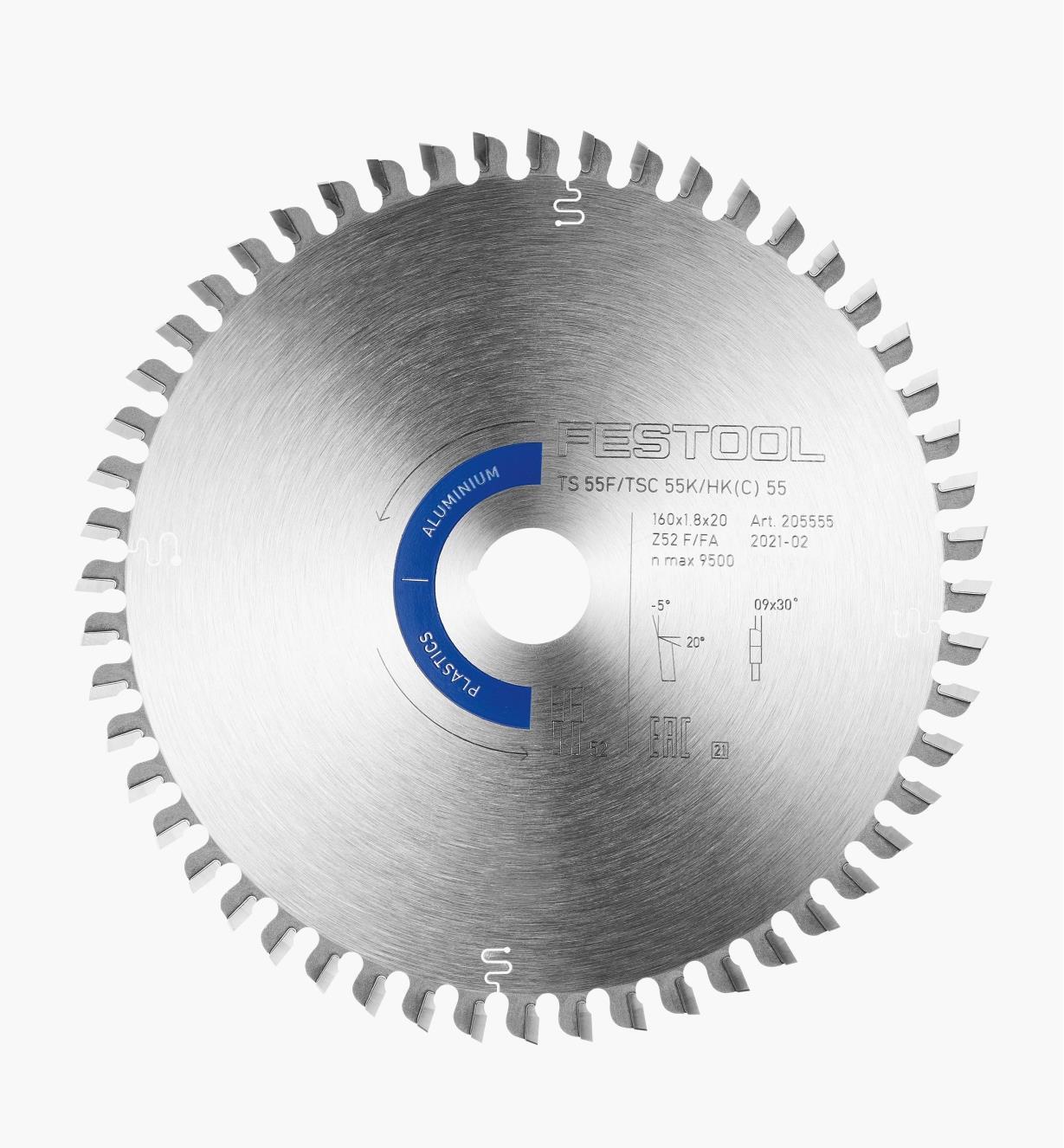 Lame pour plastique et aluminium, HW 160x1,8x20 F/FA52