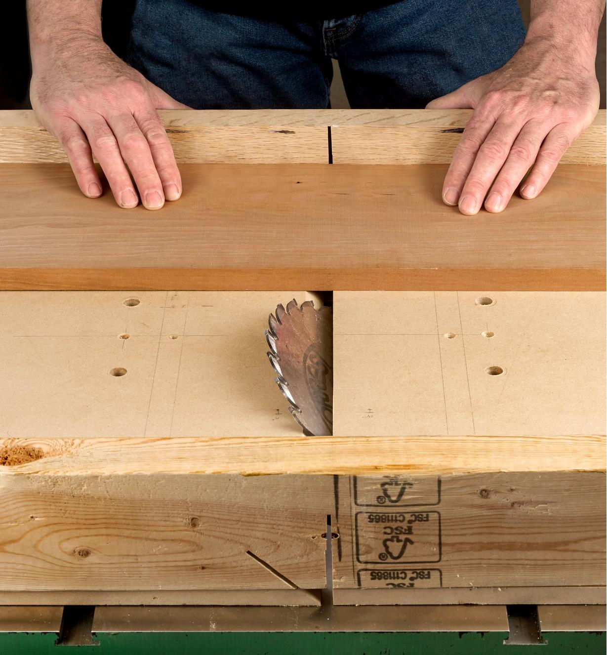 Cutting stock on a table saw using a large sled made with two Zeroplay miter bars