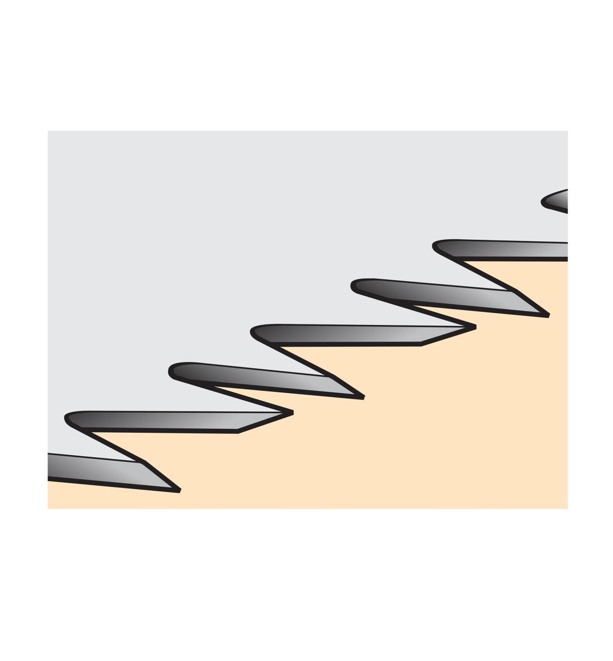 Close-up illustration of saw teeth