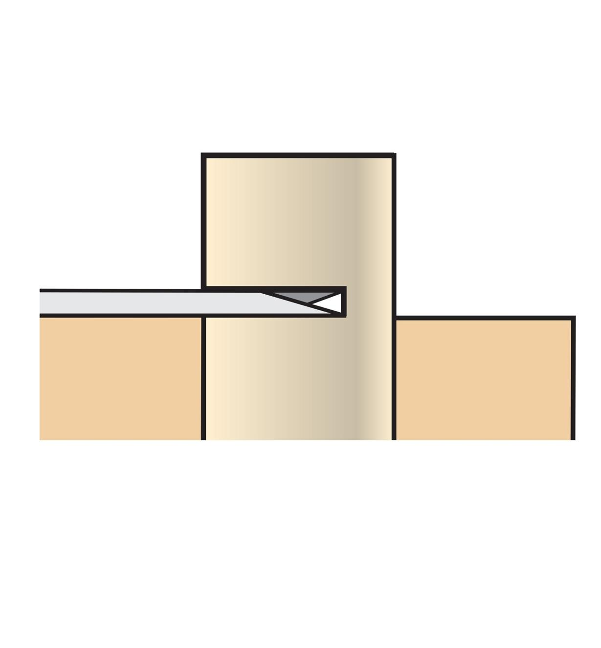 Illustration of blade cutting a plug flush to a surface