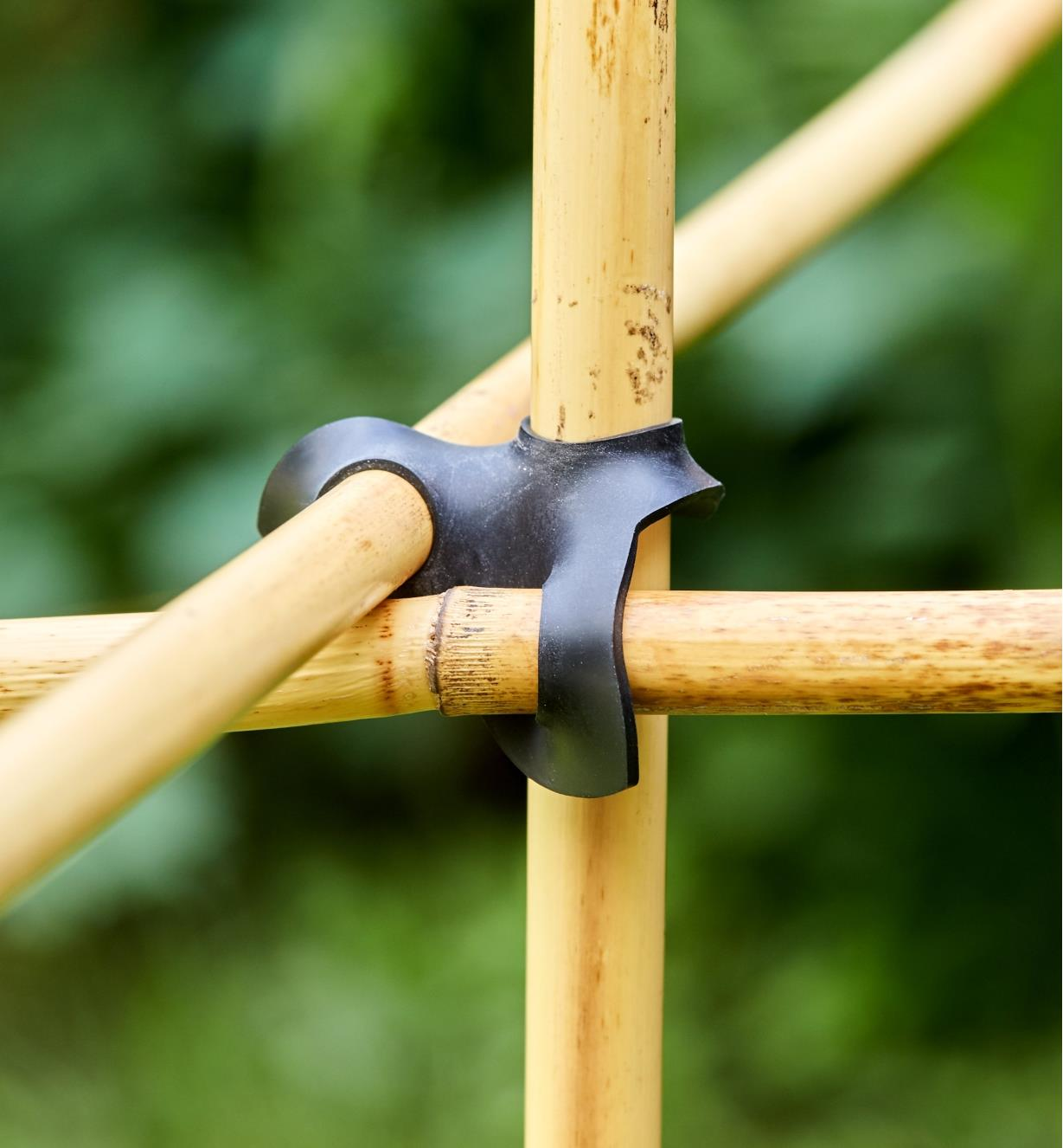 Staking connectors holding three bamboo poles in a crisscross pattern