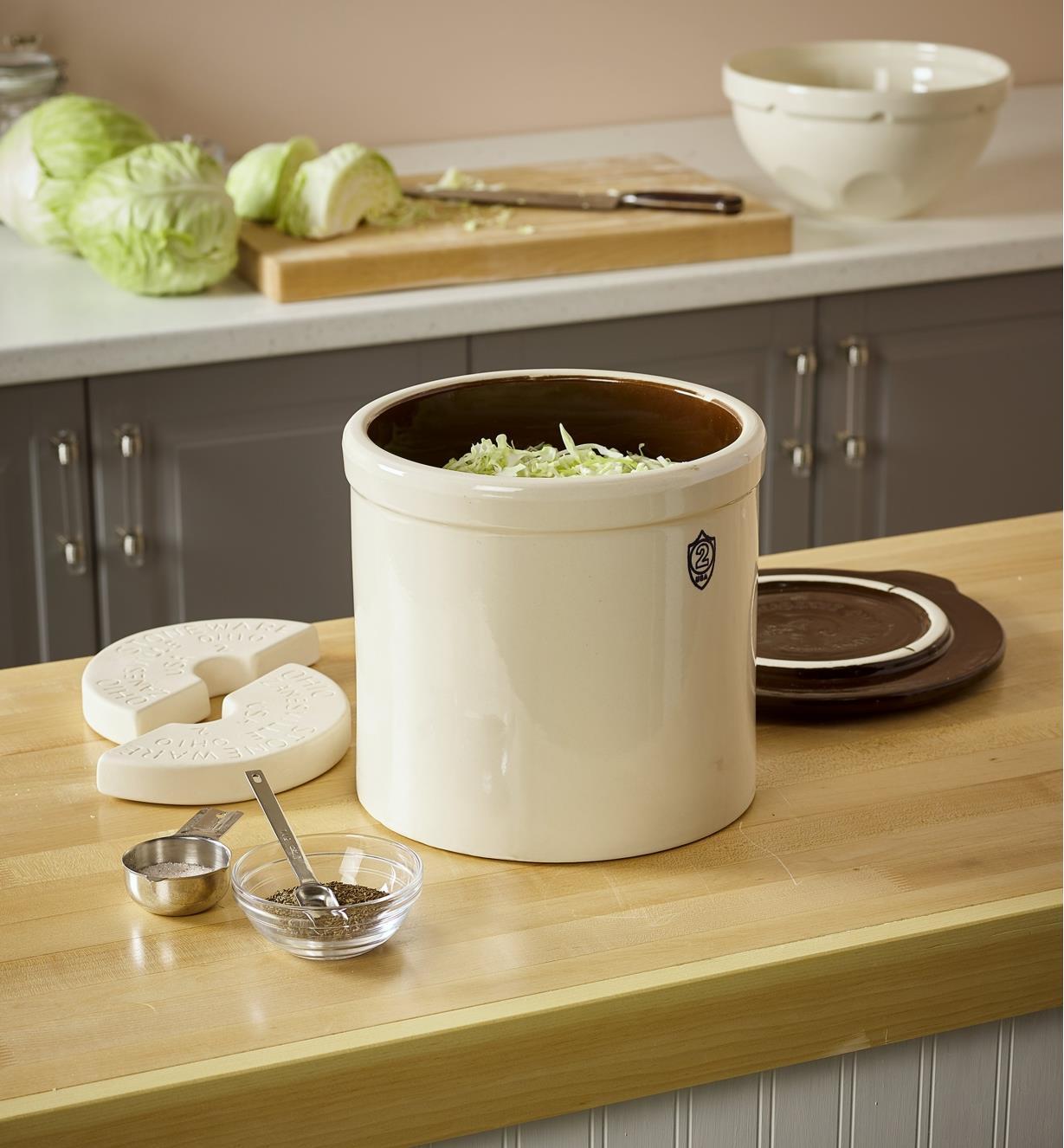 Fermentation crock set on a countertop