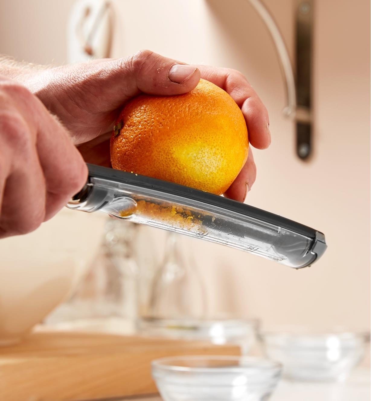 Zesting an orange