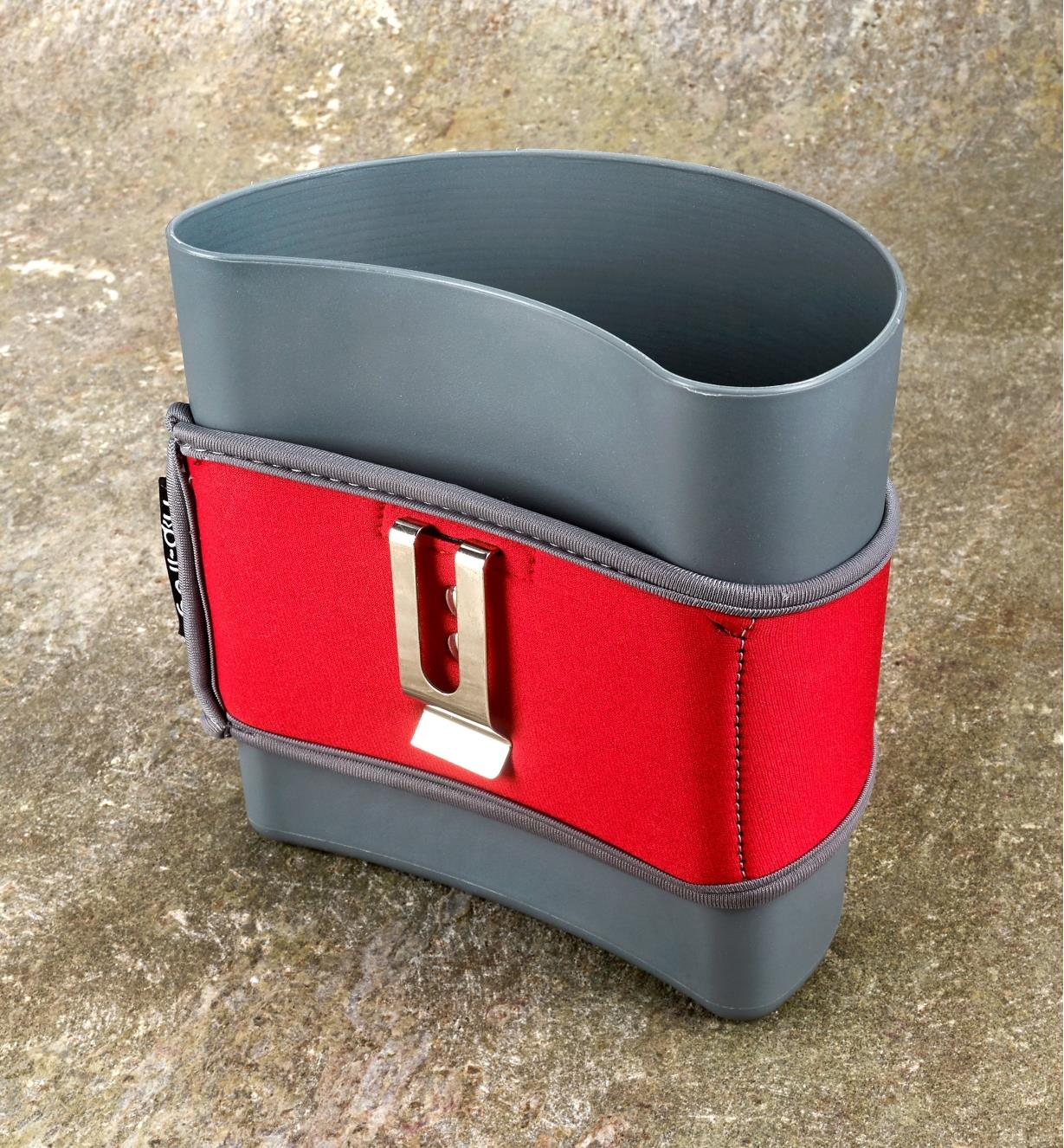 Back of hip-trug showing neoprene holster with clip